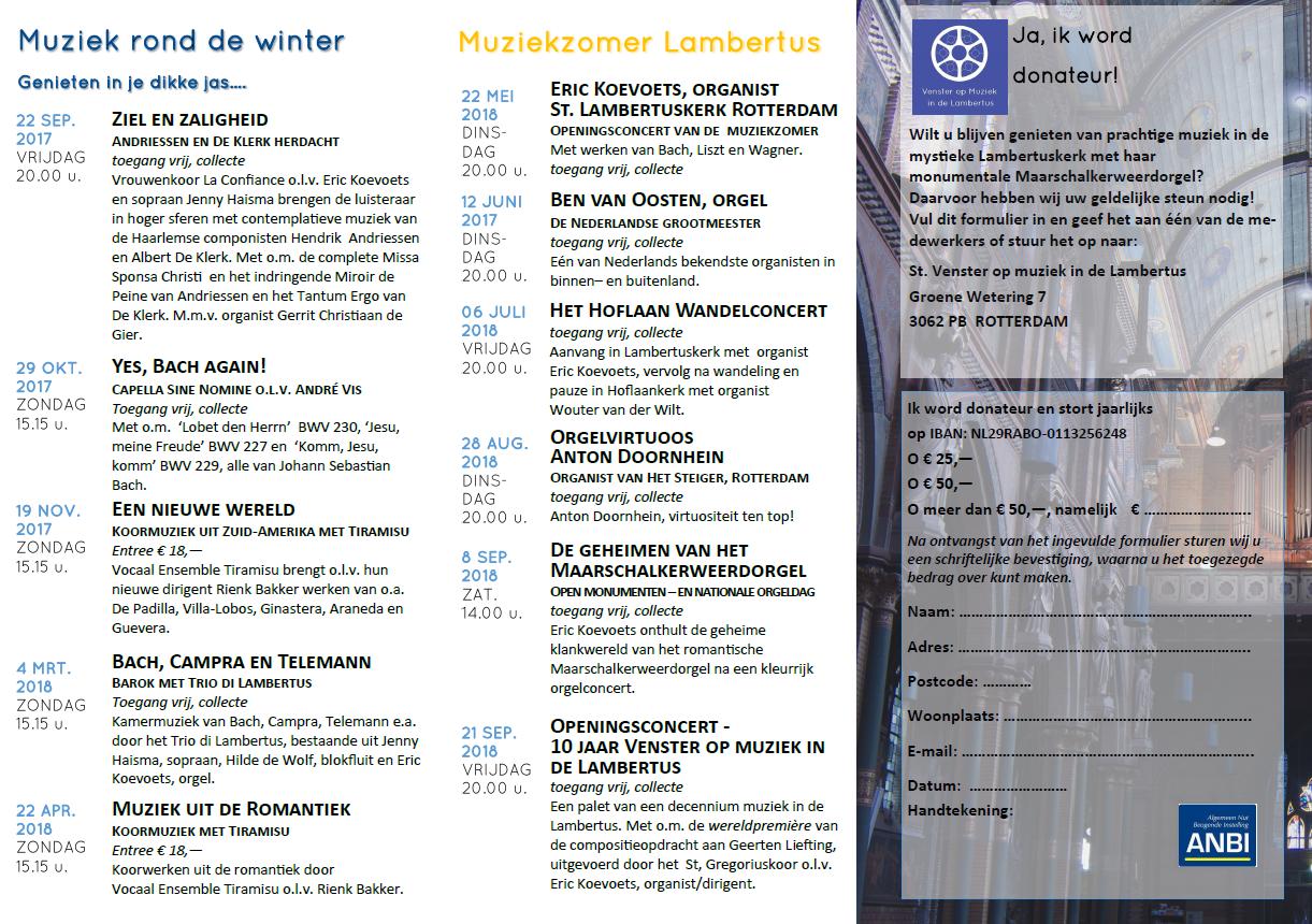Concert agenda for Agenda lantaren venster
